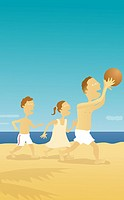 Man and his children playing on the beach