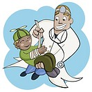 Male doctor holding a boy