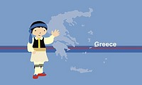 Boy in traditional clothing near map of Greece