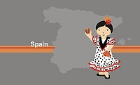 Girl wearing traditional Spanish g near map of Spain