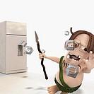 Refrigerator shooting ice cubes at a man