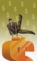 Businessman performing gymnastics on a dollar sign