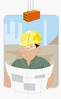 Construction worker holding a blueprint