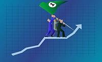 Three businessmen walking up on a line graph