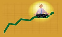 Businessman meditating on a line graph