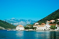 Village and fjord in montenegro