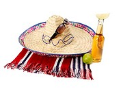Sombrero and bottle of lager