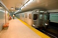 Subway train leaving station, Toronto