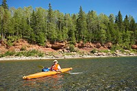 View of kayak on Bonaventure river, Gaspesie, Quebec