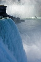 The American Falls with Horseshoe Falls and the Maid of the Mist in the Background - Niagara Falls, New York, USA