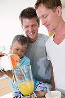 Gay couple making smoothies with their son