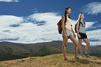 Two women hiking in hills