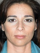 Close up portrait of woman´s face, serious expression, Alicante, Spain,