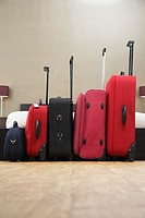 Suitcases standing in row in bedroom