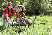 Portrait of boy 7_9 wearing pirate costume pushing boy 5_6 in cart in jaguar costume garden