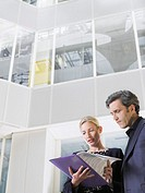 Two business people looking at paper folder low angle view