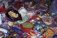 Folk medicines sold in a Bolivian market
