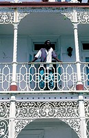 Jamaica, Port Antonio, old colonial house, detail of a cast-up grid