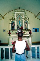 Domenican Republic, Las Terranas, Los Haitises, praying in church