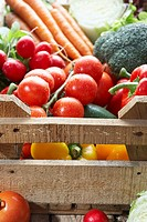 A crate of fresh produce