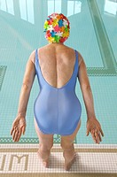 Senior woman ready to dive