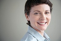 Businesswoman with short hair smiling