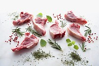 Six raw lamb chops