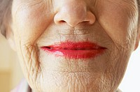 Senior woman wearing lipstick smiling