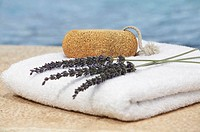 Loofah and herbs on a bath towel