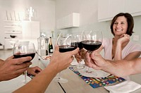 Two mid adult couples toasting wine glasses