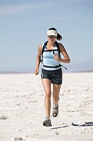 Woman running, Bonneville Salt Flats, Utah