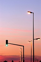 Traffic signalling and public lighting, Lunéville, Meurthe-et-Moselle. Lorraine, France