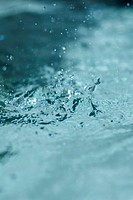 Water splashing, extreme close-up