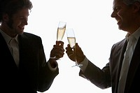 Two businessmen toasting with champagne, close-up