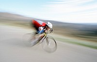 Blurred view of cyclist