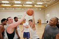 Westgate Park Recreation Center, basketball gymnasium, Black male, players. Dothan. Alabama. USA.