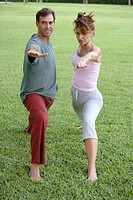 Couple doing yoga together