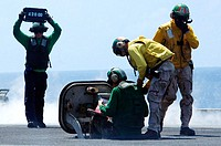PACIFIC OCEAN (April 25, 2007) - Sailors confirm the weight of an aircraft to assure that the catapult pressure is correct aboard nuclear-powered airc...