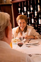 Senior couple dining in restaurant