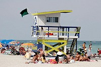 Florida, Miami Beach, Atlantic Ocean, shore, lifeguard station, sunbathers,
