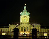 geography / travel, Germany, Berlin, castles, Charlottenburg Palace, exterior view, night shot, Europe, architecture, castle, House of Hohenzollern, Q...