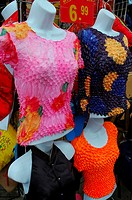 Colorful Tops on mannequins in Chinatown portrait