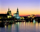 geography / travel, Germany, Saxony, Dresden, city views / cityscapes, riverside Elbe, Brühl´s Terrace, Dresden Castle, cathedral St- Trinitatis, Semp...