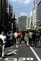 geography / travel, Japan, cities, Tokyo, Ginza, street scenes, pedestrians, car-free sunday, historic, historical, 1970s, Asia, street scene, people,...