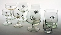 food and beverages, dinnerware / dishes, glasses, series Karat, VEB Kombinat Lausitzer Glas, with logo Palast der Republik, GDR, German Democratic Rep...
