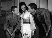 Gobert, Boy, 5 6 1925 - 30 5 1986, deut Schauspieler, Halbfigur, mit der jap Schauspielerin Keiko Kishi und Thomas Holtzmann, 1961, 1960er Jahre, Holz...