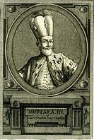 A4 Mustafa III , 28 1 1717 - 21 1 1773, Sultan des Osmanischen Reich 30 10 1757 - 21 1 1773, Brustbild, Kupferstich, 18 Jahrhundert, Osmanen, Türkei, ...