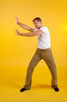 Man practising martial art