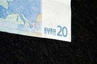 Corner of twenty Euro banknote