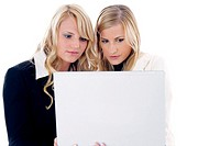 Businesswomen sharing a laptop